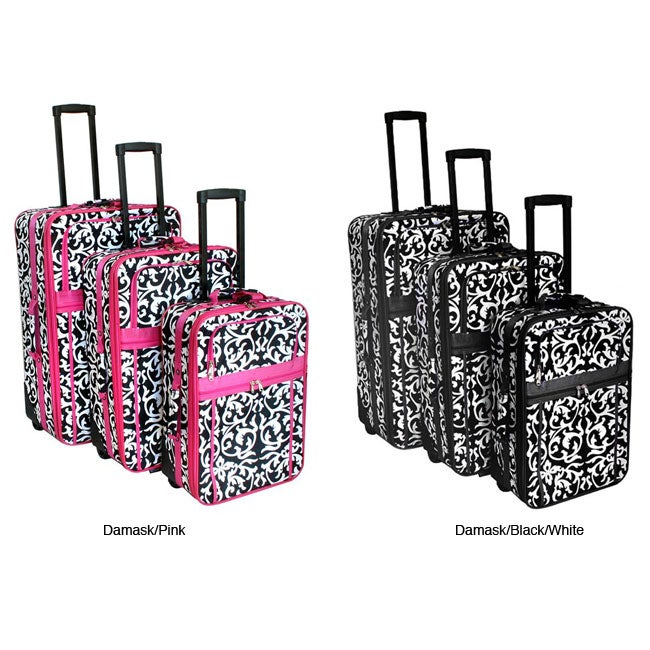 World Traveler 3-piece Damask Expandable Luggage Set