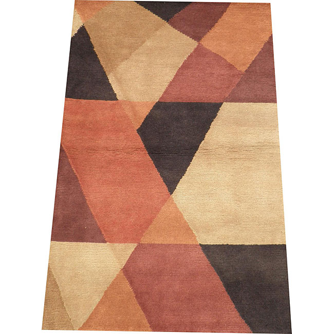 Indo Hand-knotted Rust/ Beige Tibetan-style Wool Rug (3'5 x 5'5)