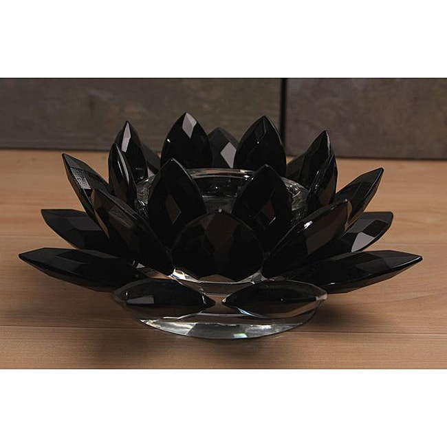 Black Crystal Lotus Candle Holder Free Shipping Today