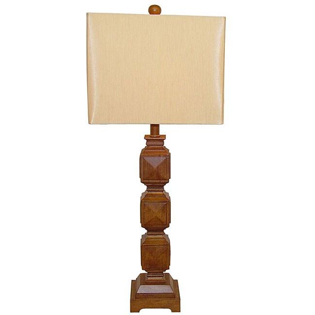 Ramoncito Natural Wood Square Table Lamp