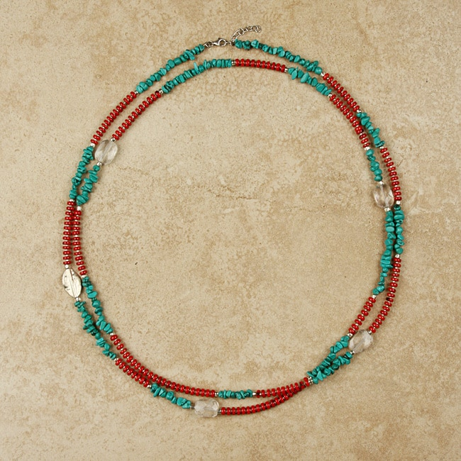 Turquoise and Red Bamboo Coral Long Necklace (China)
