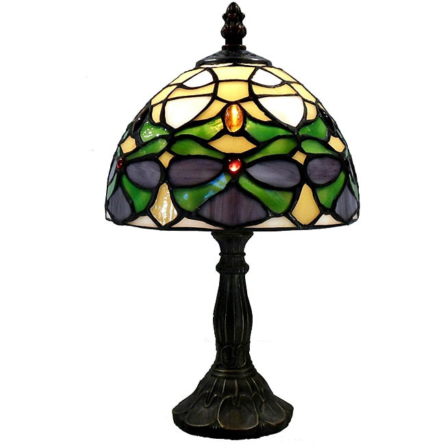 Tiffany-style Green Jeweled Lamp - Thumbnail 0