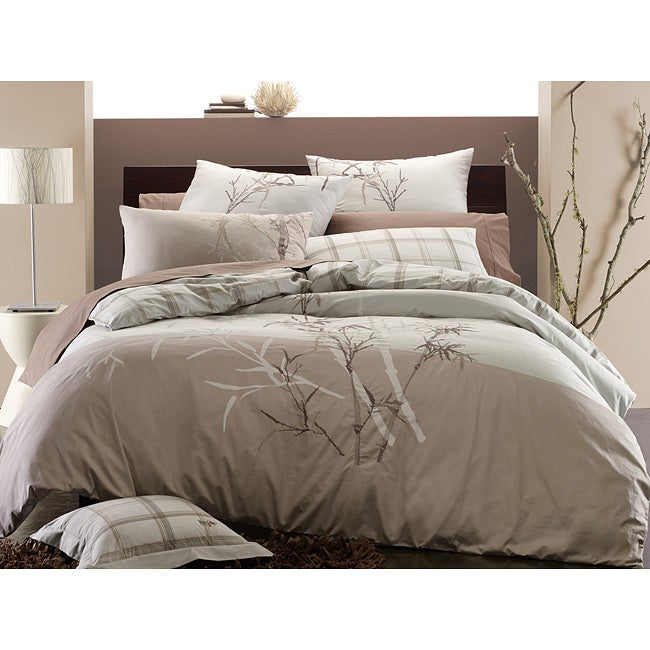 Embroidered Bamboo 2-piece Twin-size Duvet Cover Set