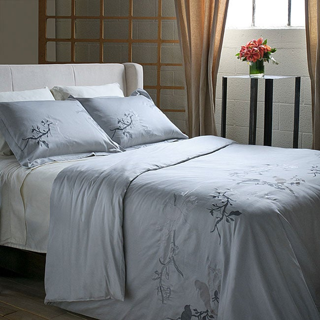 Shop Embroidered Song Bird 3 Piece Full Queen Size Duvet Cover Set