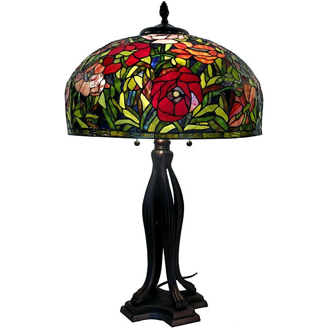 Tiffany Style Red Rose Table Lamp Free Shipping Today