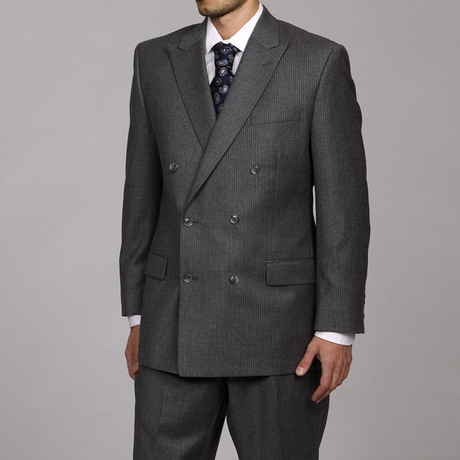 Calvin Klein Men's Grey Slim Stripe Double-breasted Suit