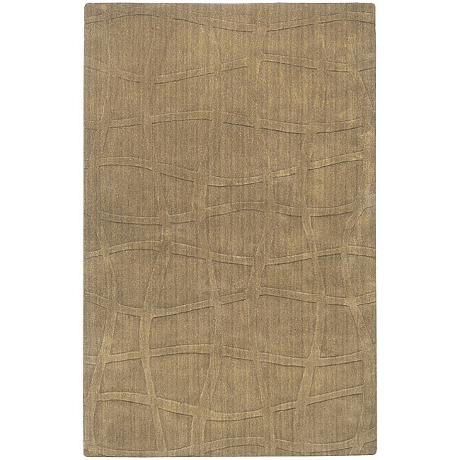 Candice Olson Loomed Structural Taupe Abstract Plush Wool Rug (8' x 11')