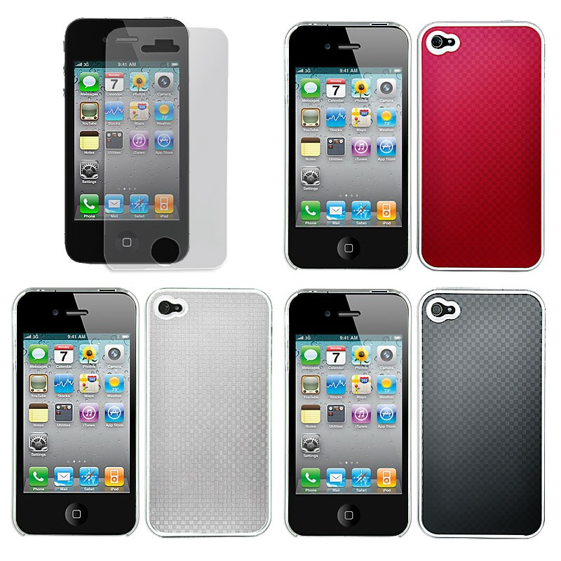 Aluminum Apple iPhone 4 Carbon Fiber Plated Case with Screen Protector