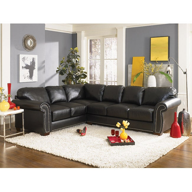 Black Bonded Leather Nail Head Sectional Sofa Free