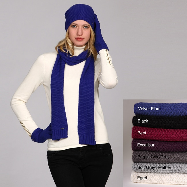9e0c0f80f36 Shop Calvin Klein Rice Grain Knit Scarf Hat and Gloves Set - Free ...
