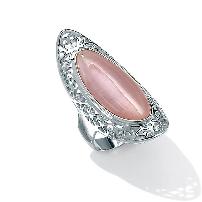 Angelina D'Andrea Sterling Silver Mother of Pearl Scroll Ring