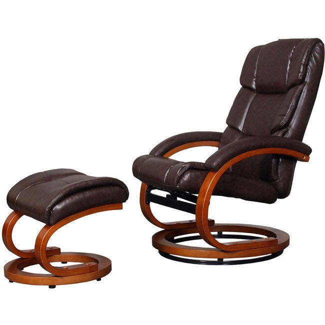 Maddock European Comfort Bonded Leather Recliner and Ottoman Set