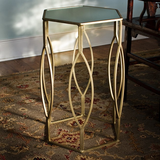 Brass-plated Iron and Glass Hexagonal Side Table (India)