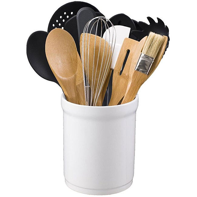 Kitchen Tool 16-piece Set in Ceramic Tub - Thumbnail 0