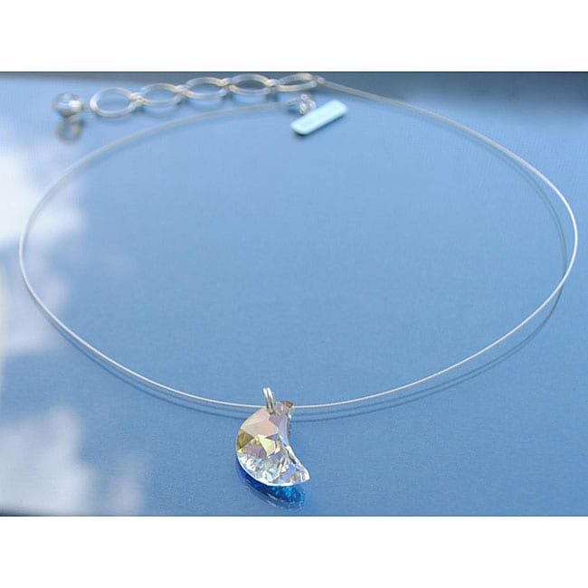 Sterling Silver Austrian-cut Crystal Crescent Moon Necklace (USA)