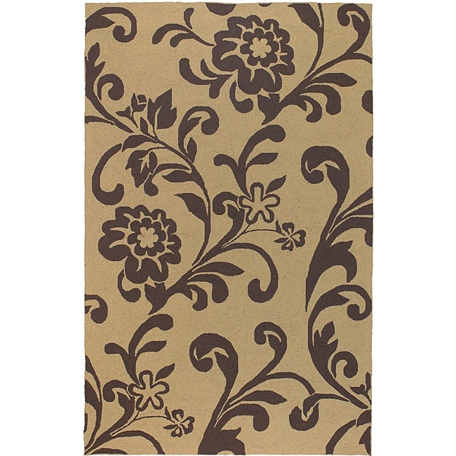 Hand-hooked Tropic Dark Brown Indoor/Outdoor Floral Rug (9' x 12')