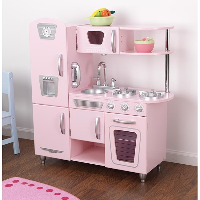 Kid kraft pink vintage kitchen play set free shipping for Kitchen set pink