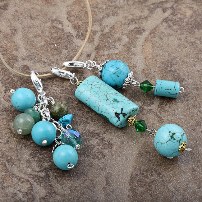 Fashion Forward Turquoise-color Gemstone Charms (Set of 3)