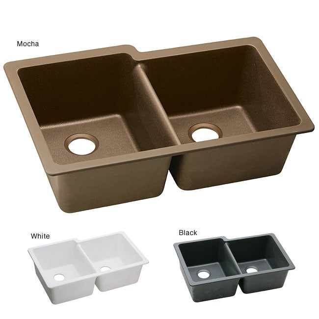 Elkay ELGU250 E Granite 33x20.5 In Double Bowl Undermount Sink