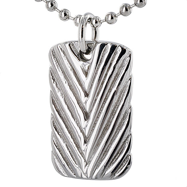 West Coast Jewelry Stainless Steel Antiqued Diagonal Groove Dog Tag