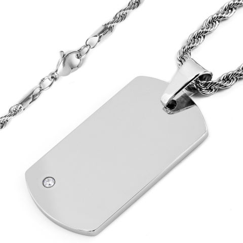 Crucible Tungsten Cubic Zirconia Dog Tag