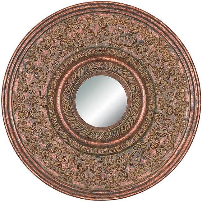 Round Framed Cherry Gold Wall Mirror