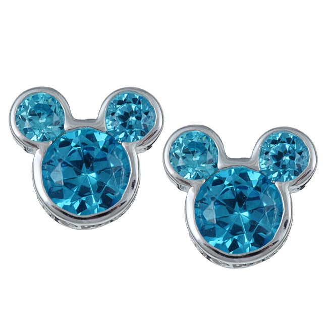 fd2f8bf46 Shop Disney Sterling Silver December Birthstone Blue Topaz Mickey Earrings  - Free Shipping On Orders Over $45 - Overstock - 5285862