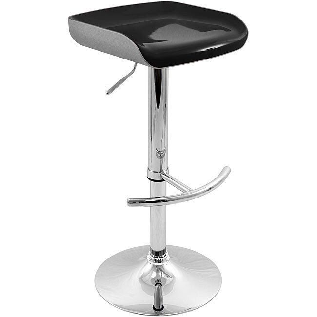 Shiny Chrome Adjustable Silver/ Black Barstool