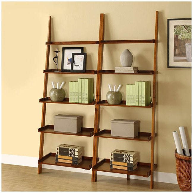 Mahogany Five Tier 2 Piece Leaning Ladder Shelf Set Free