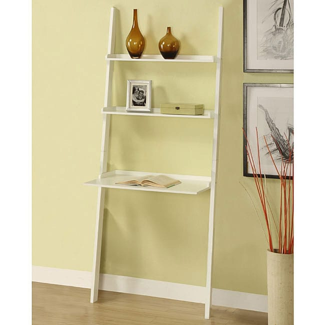 White Three-tier Leaning Laptop Shelf