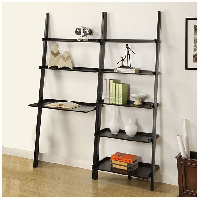 Black 5 Tier 2 Piece Leaning Ladder Shelf With Laptop Desk