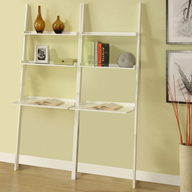 White 3-tier Leaning Laptop Shelf (Set of 2)