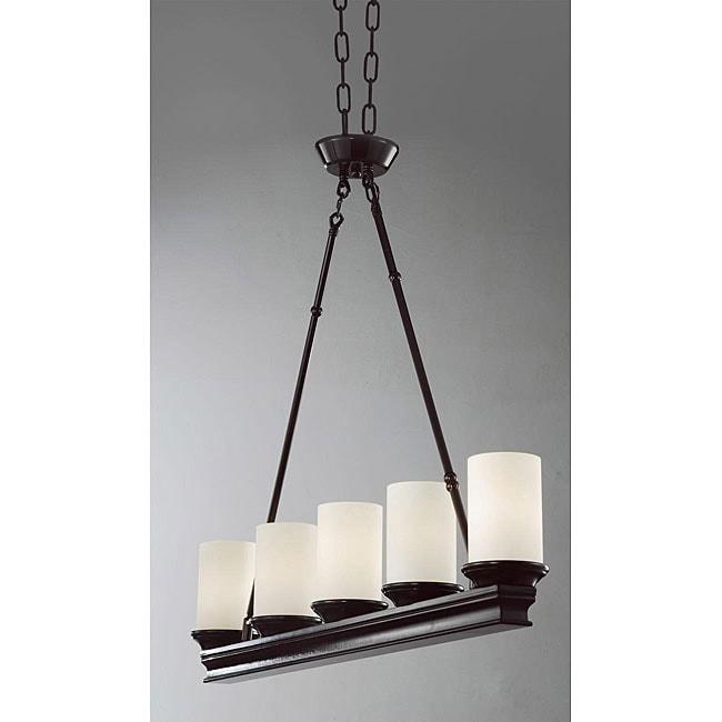 Pottery Barn Veranda Chandelier Installation: Indoor 5-light Mahogany Chandelier