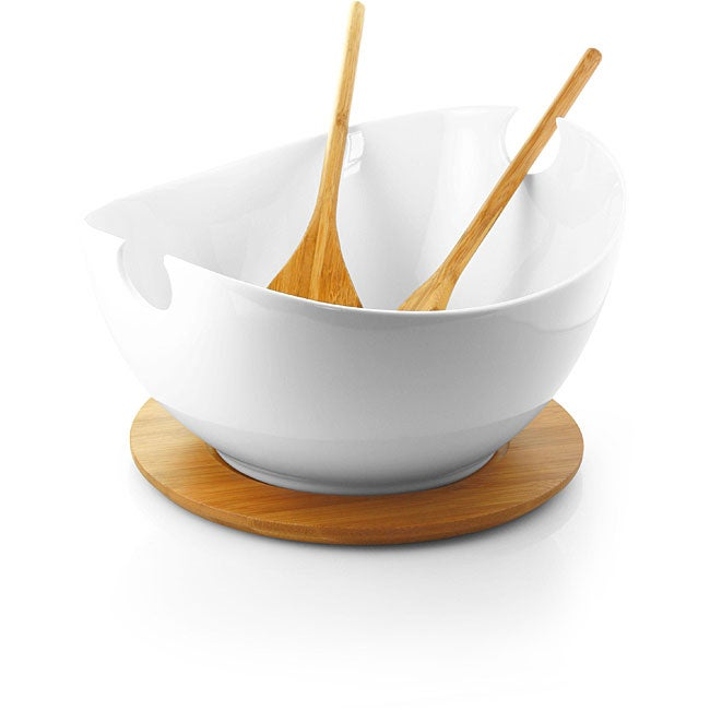 White Porcelain Salad Bowl on Bamboo Tray with Serving Utensils