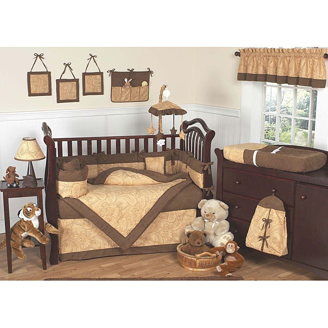 Sweet Jojo Designs Camel Brown Paisley 9-piece Crib Bedding Set - Thumbnail 0