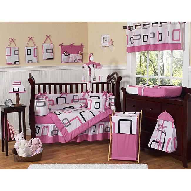 shop sweet jojo designs pink and black geo 9 piece crib bedding set free shipping today. Black Bedroom Furniture Sets. Home Design Ideas
