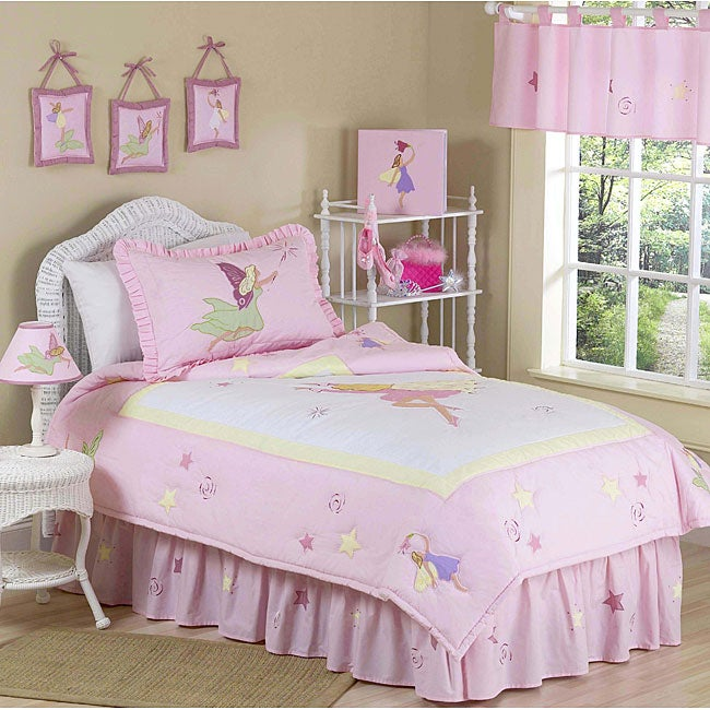 fairy tale fairies 4 piece girl 39 s twin size bedding set free shipping today. Black Bedroom Furniture Sets. Home Design Ideas