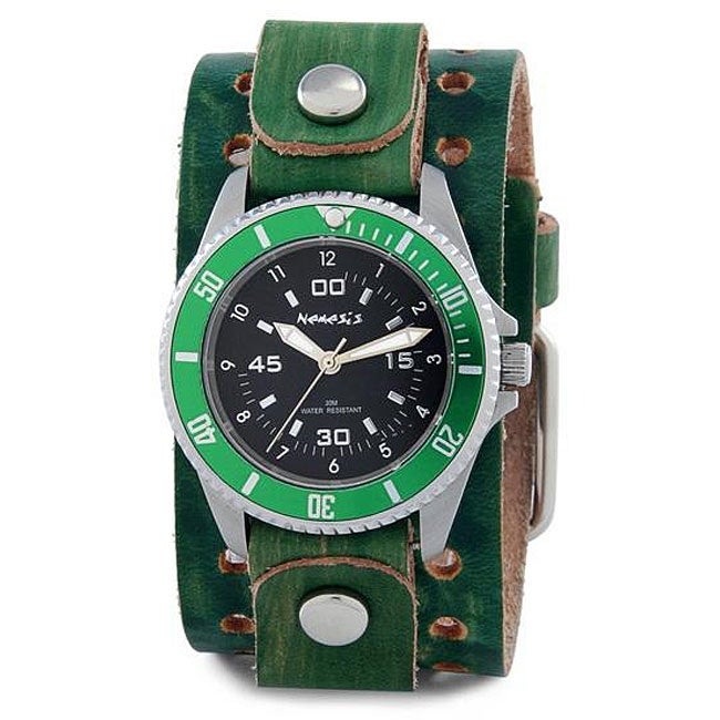 Nemesis Men's Signature Stainless Steel Vintage Green Leather Watch