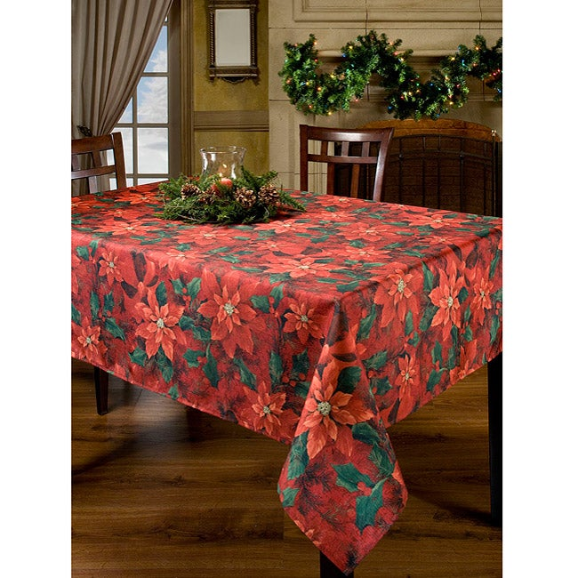 Poinsettia Elegance Printed Oblong Tablecloth 60x84 Inches