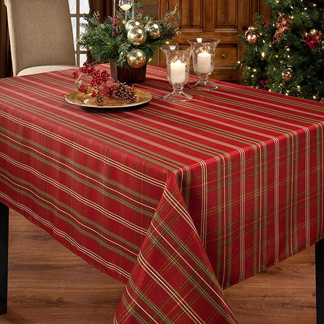 Christmasville Plaid Gold Mylar Oblong Tablecloth 60x104 Inches