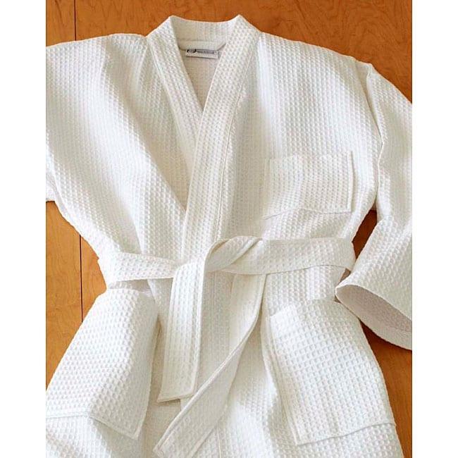 Unisex Cotton Kimono Waffle Spa Bath Robe Free Shipping