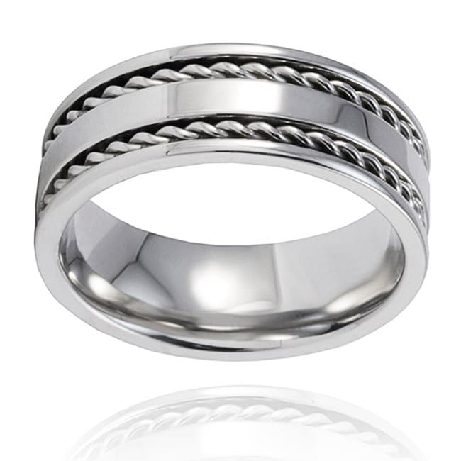 Stainless Steel Double Cable Inlay Ring