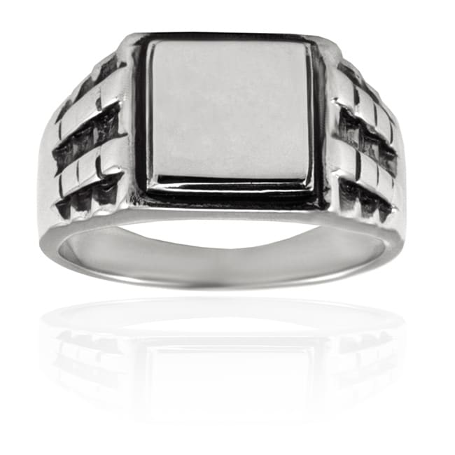 West Coast Jewelry Stainless Steel Black Textured Ring - Thumbnail 0
