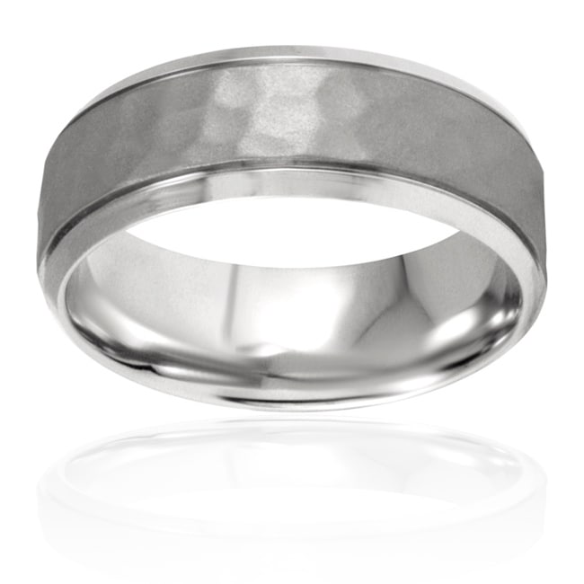 West Coast Jewelry Stainless Steel Polished Textured Ring - Thumbnail 0