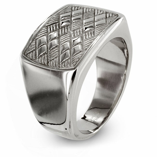 West Coast Jewelry Stainless Steel Checker Board Ring