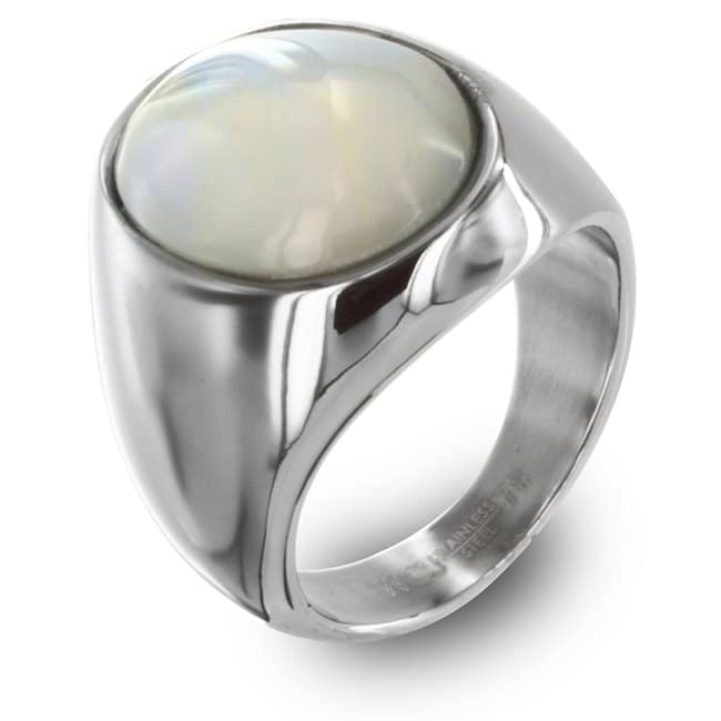 West Coast Jewelry Stainless Steel Mother of Pearl Ring - Thumbnail 0
