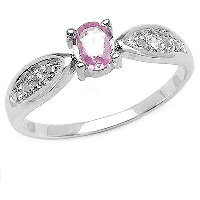 Malaika Sterling Silver Pink Sapphire and White Topaz Ring
