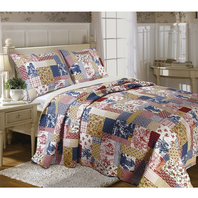 Greenland Home Fashions Garden Toile King-size 3-piece Quilt Set