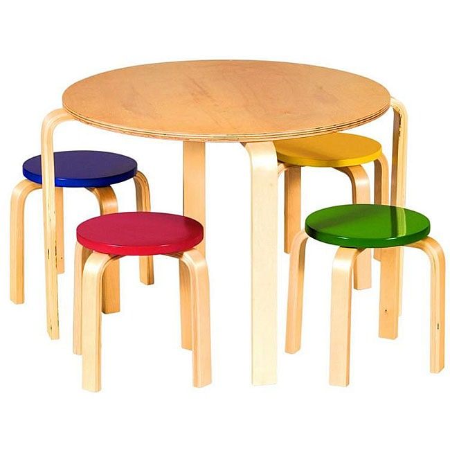 Children X27 S 5 Piece Wooden Round Table And Chairs Set