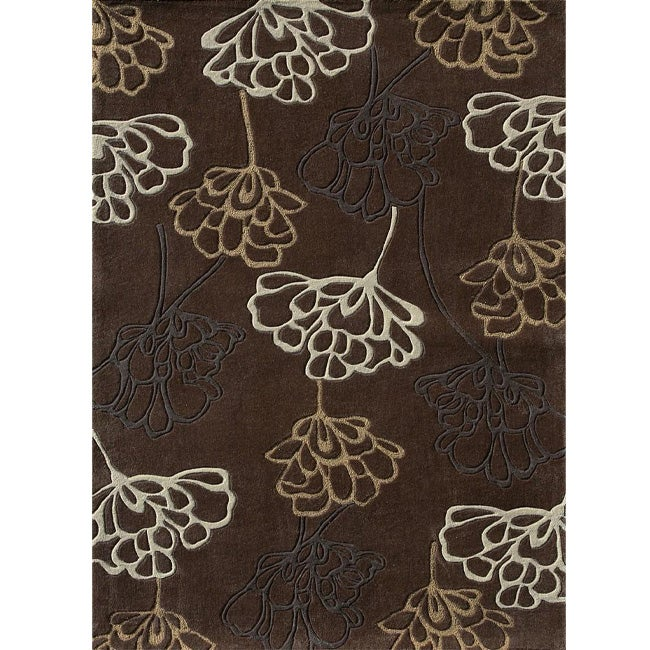 Hand-tufted Chalice Brown Floral Rug (3'6 x 5'6)
